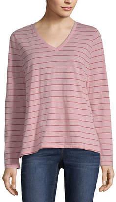 A.N.A Long Sleeve V Neck T-Shirt-Womens Petite