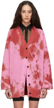 MSGM Red and Pink Tie-Dye Cardigan
