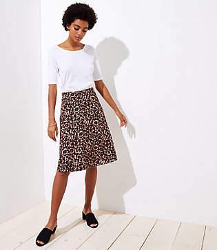 LOFT Petite Leopard Print Fluid Skirt