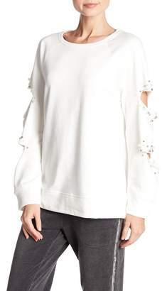 Mustard Seed Embellished Cutout Sleeve Sweater