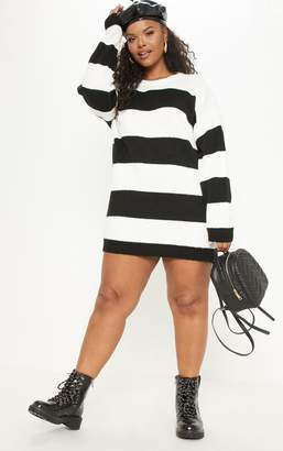 f66560ce088 PrettyLittleThing Plus Monochrome Striped Oversized Jumper Dress