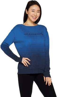 Peace Love World Dip Dye Fleece Knit Top with Affirmation