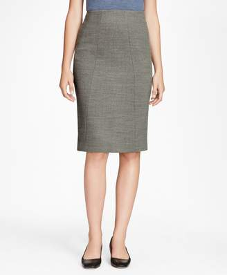 Brooks Brothers Double-Weave Stretch-Wool Pencil Skirt