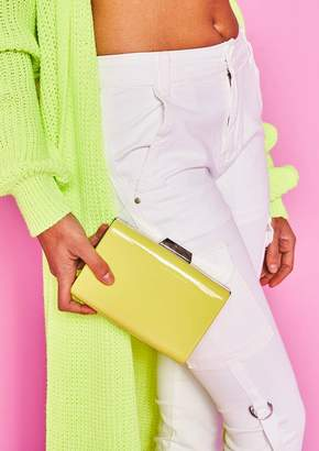 3a6edeb2f17a Missy Empire Missyempire Em Neon Yellow Patent Clutch Bag