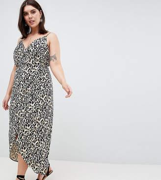 Asos DESIGN Curve cami wrap maxi dress in leopard print