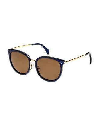 Celine Round Acetate & Metal Monochromatic Sunglasses, Medium Blue