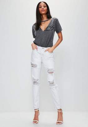 Missguided White High Rise Ripped Ankle Grazer Mom Jeans, White