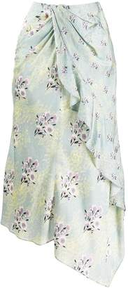 Self-Portrait floral print draped skirt