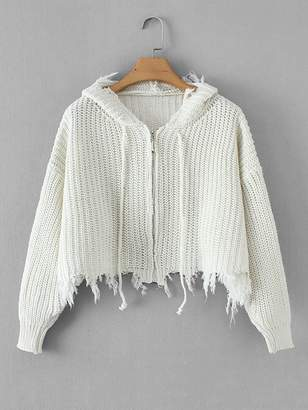 Shein Frayed Hem Drawstring Hooded Sweater