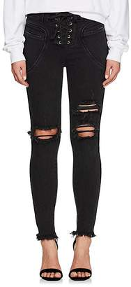 Icons Women's Valhalla Distressed Lace-Up Skinny Jeans