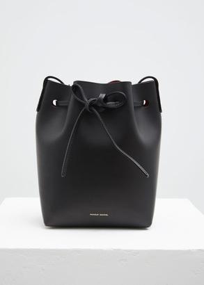 Mansur Gavriel black / flamma mini bucket bag $495 thestylecure.com