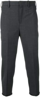 Neil Barrett cropped frayed hem trousers