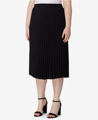 Tahari ASL Plus Size Pleated Midi Skirt