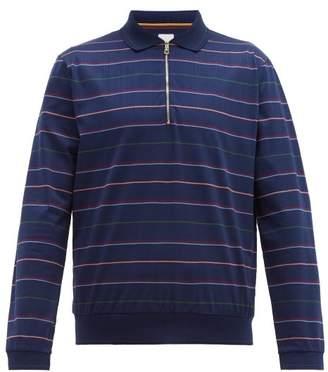 Paul Smith Multi Stripe Long Sleeve Polo Shirt - Mens - Navy