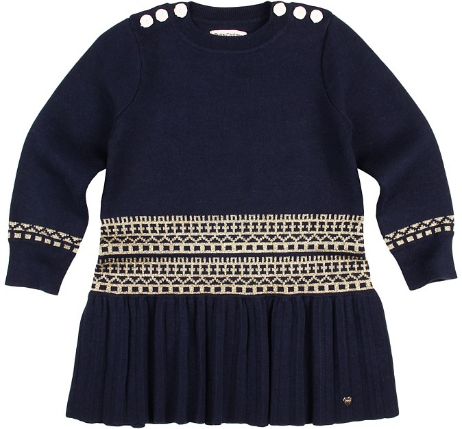 Juicy Couture Metallic Fair Isle Dress (Toddler/Little Kids/Big Kids) (Regal w/ Gold) - Apparel