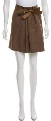 Brunello Cucinelli Wool Pleated Skirt Olive Wool Pleated Skirt