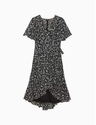 Calvin Klein Floral Chiffon Short Sleeve High-Low Ruffle Hem Dress