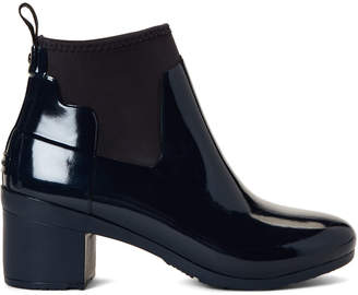 Hunter Navy Refined Gloss Ankle Rain Boots