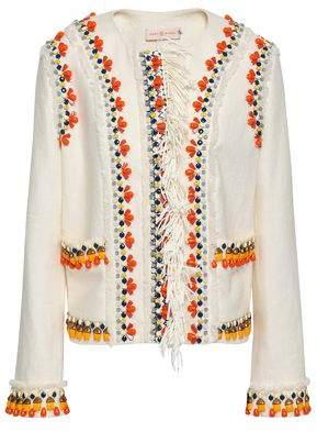 Tory Burch Embellished Linen Jacket