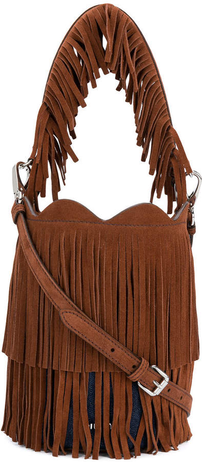 Miu Miu fringe-trimmed bucket bag
