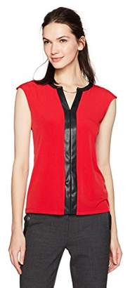 Calvin Klein Women's S/l Top with Faux Leather