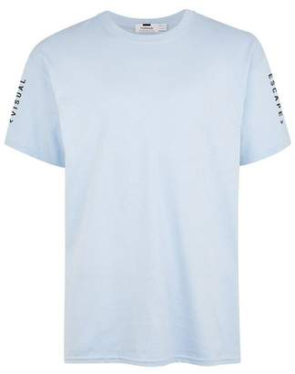 Topman Mens Light Blue Printed T-Shirt