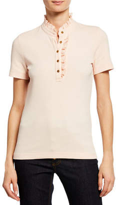 Tory Burch Emily Ruffled Pique Polo Shirt