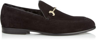 Jimmy Choo MARTI Black Velvet Suede Loafers with Fur Lining