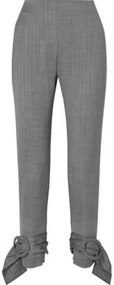 Carmen March Herringbone Wool Slim-leg Pants