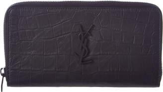 Saint Laurent Monogram Croc-Embossed Leather Zip Around Wallet