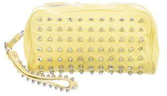 Tory Burch Studded Leather Clutch - YELLOW - STYLE