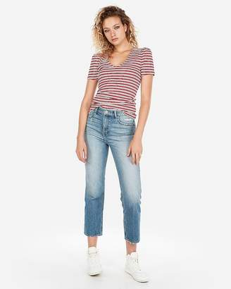 Express Striped Ribbed Puff Sleeve V-Neck Tee