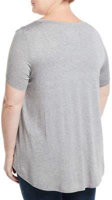 Neiman Marcus V-Neck Short-Sleeve Pocket Tee, Plus Size