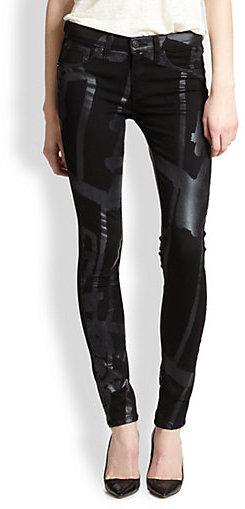 Rag and Bone The Legging Tonal Printed Skinny Jeans
