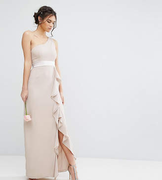TFNC WEDDING One Shoulder Maxi Dress with Frill Detail
