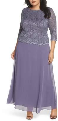 Alex Evenings Lace & Chiffon Gown
