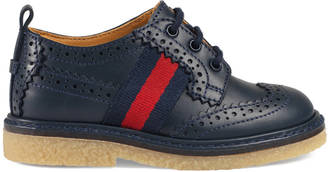 Toddler leather brogue shoe with Web $375 thestylecure.com