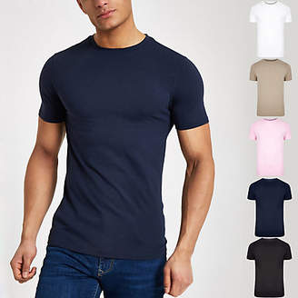 River Island Mens Multicoloured muscle fit T-shirt multipack