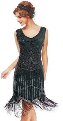 Uniq Sense xs-3xl Women's Roaring 20s V-Neck Gatsby Dresses- Vintage Inpired Sequin Beaded Flapper Dresses (, XL)