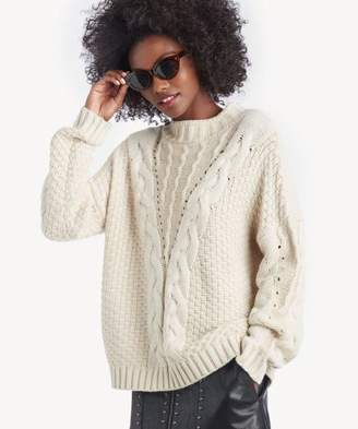 Sole Society Mock Neck Cable Knit Sweater