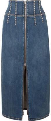 Current/Elliott The Trilby Studded Denim Midi Skirt - Mid denim