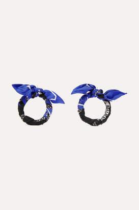 Balenciaga Printed Silk-twill Earrings - Blue
