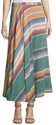 Neiman Marcus Bias-Cut Striped Cotton Maxi Skirt, Multi $425 thestylecure.com