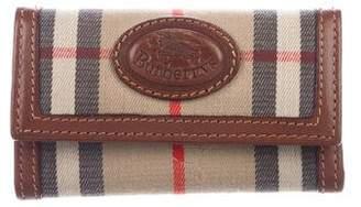 Burberry Leather-Trimmed Haymarket Check Key Holder