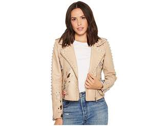 Blank NYC Floral Embroidered Studded Moto Jacket in Natural Romance Women's Coat