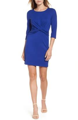 Gibson Knot Front Stretch Knit Body-Con Dress