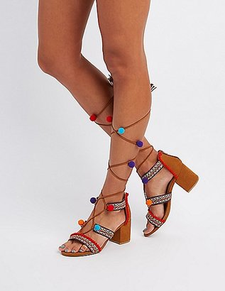 Bamboo Embroidered Pom Pom Sandals $38.99 thestylecure.com