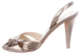 Oscar de la Renta Leather Slingback Sandals