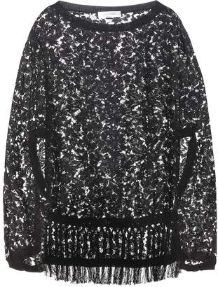 Valentino Cotton-blend lace poncho