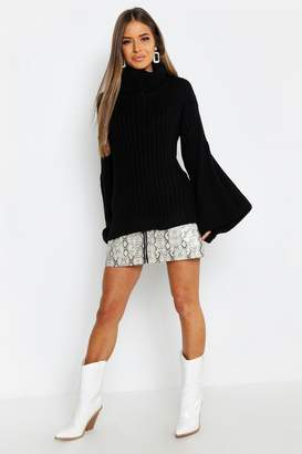 boohoo Petite Wide Sleeve Roll Neck Sweater